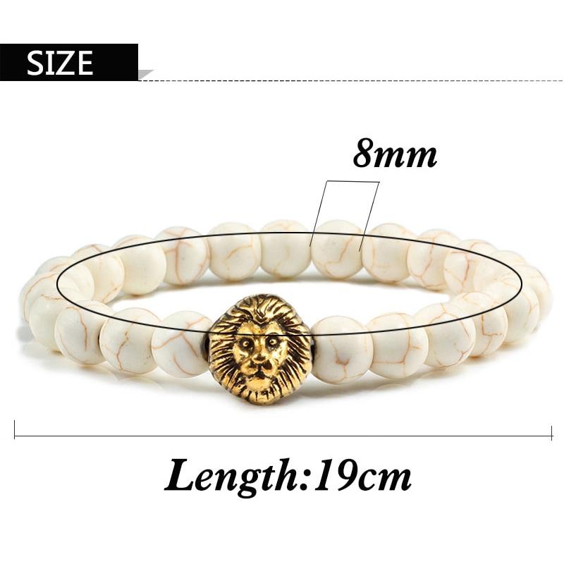 Classic Lion Head Charm Bracelet Men Fashion 8mm Natural Lava Stone Handmade Beaded Bracelets For Women Elastic Jewelry Pulsera