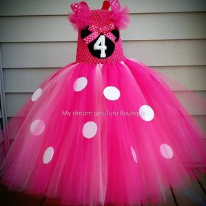 Girls Pink Minnie Cartoon Tutu Dress Kids Crochet Tulle Dress Ball Gown with White Dots Children Birthday Party Costume Dresses(China)