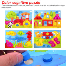 Wooden 3D Puzzle Jigsaw Toys Cartoon Things Color Cognition Board Games Educational For Children Wood Puzzles Baby Toy Gift