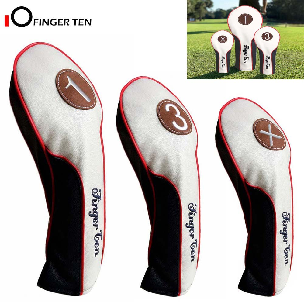 Golf Head Covers Wood Driver Fairway Rescue Club Cover Deluxe Synthetic Leather 1 3 X Headcover For Men Women