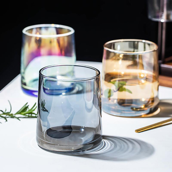 Butelka wody bezołowiowa szklanka do kawy kubki kreatywna tęcza bursztynowy szary różowy przezroczysty kolor sok koktajl napoje kieliszki do wina tanie i dobre opinie CN (pochodzenie) ROUND Ce ue Lfgb Szkło Wielu kolor Ekologiczne G008