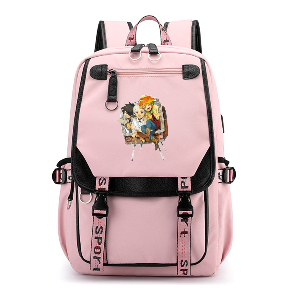 The Promised Neverland Laptop Backpack Emma Anime School Bags For Teenage Girls Waterproof Travel Bagpack Nylon Bookbag Rugzak