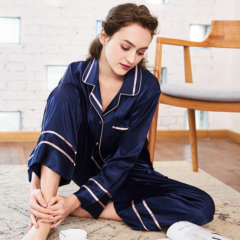 Новые весенние шелковые пижамы с длинными рукавами, штаны, домашняя одежда для сна, пижама, брюки, домашняя одежда, штаны для сна