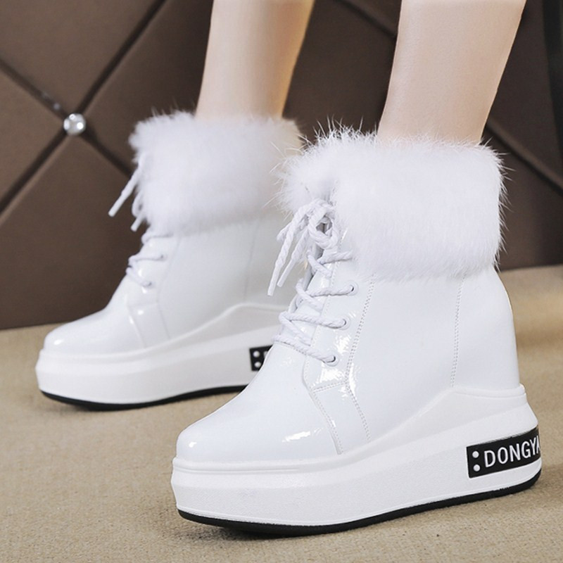 Women Shoes Winter Plus Velvet White Patent Leather Platform Shoes Ladies Fashion Sneakers Waterproof Height Increase Sneaker