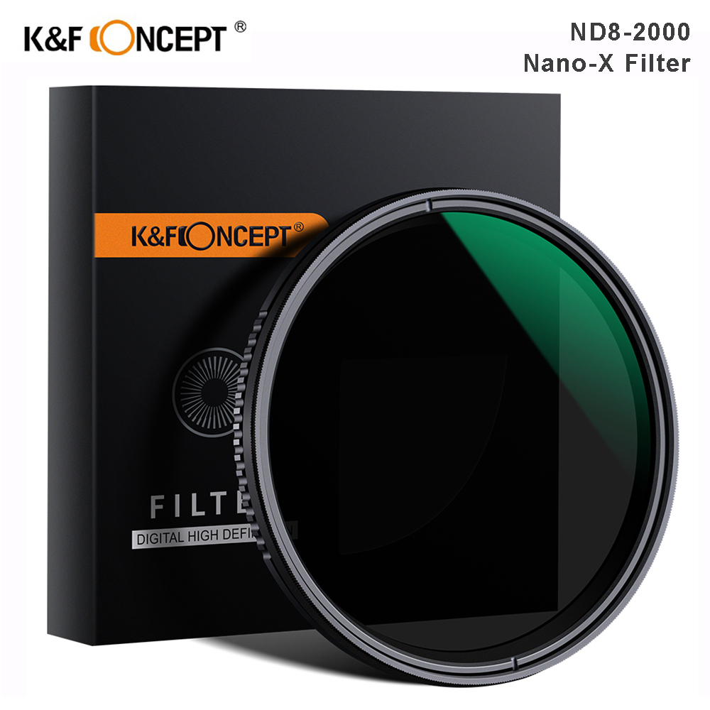 K&F Concept Nano-X ND8-ND2000 Variable ND Filter 37mm 49mm 52mm 67mm 72mm 77mm 82mm Neutral Density Filter For Canon Sony Nikon