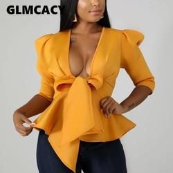Women Scuba Bowtie Peplum Blouse Shirts Half Sleeve Sexy V Neck Tops Elegant Office Ladies Workwear Streetwear 1