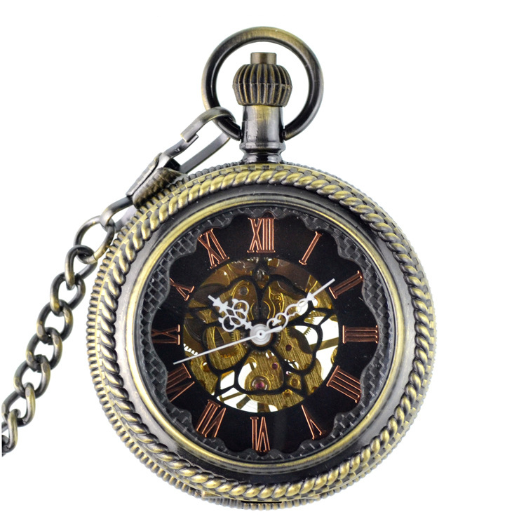 Antique Steampunk Retro Hand Wind Mechanical Pocket Watch Transparent Necklace With Chain Skeleton For Men Women Fob Watch Gift