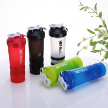 Portable three-layer shake cup Creative combination fitness protein powder with scale Printed sports