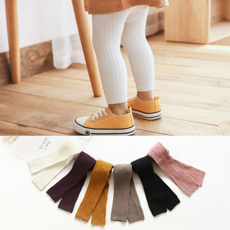 2020 Hot-selling Baby Girl Stretch Leggings Pants Spring And Autumn Toddler Child Knitting Trousers Pink Yellow Color