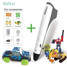 SUNLU M1 3D Pencil DIY Car Set 3D Printing Pen Best Gift For Children Low Temperature Magic Pens 3д ручка пластик 3d printing pen creative toy brush three dimensional graffiti low temperature wireless gift