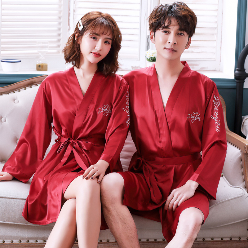 Mini Sleepwear With Belt Intimate Lingerie 2PCS Sweet Couple Kimono Bathrobe Set Full Sleeve Twinset Bobe Suit Satin Night Wear