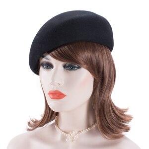 Image 3 - Women Vintage Look 100% Wool Felt Tilt Winter Beret Hats Pillbox Fascinator Saucer Tilt Cap Formal Dressy A468