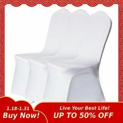20 50 100 قطعة تمتد مطاطا العالمي الأبيض دنة كرسي زفاف يغطي لحفلات الزفاف مأدبة فندق البوليستر النسيج