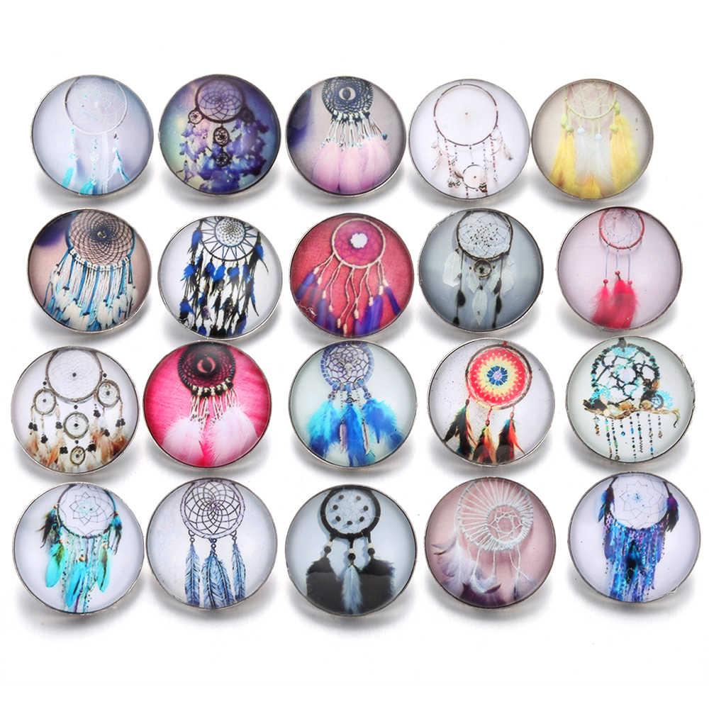10 sztuk/partia nowy przystawki przycisk biżuteryjny Dreamcatcher kwiat 18mm szkło przystawki przycisk wiele Faceted szkło Snap Cabochon Fit bransoletka Snap