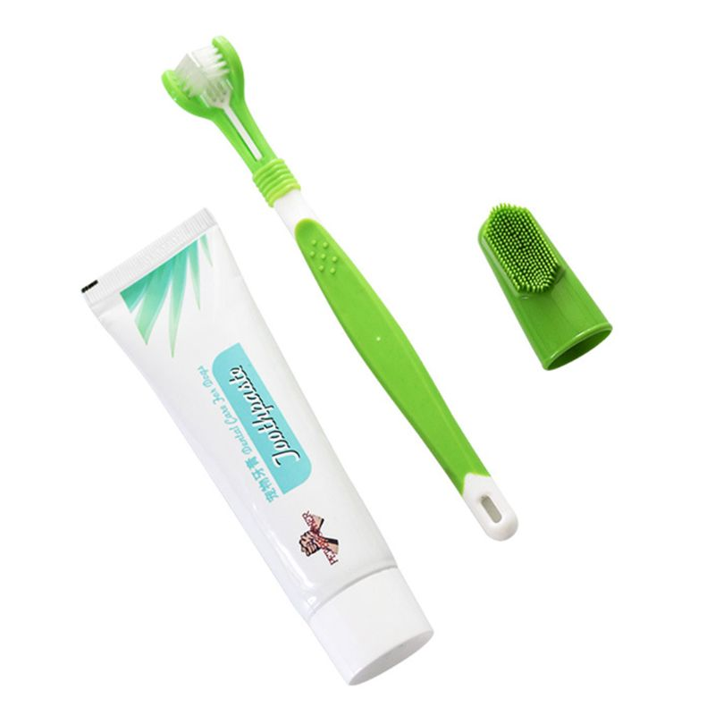 Pet Toothbrush Set Hot Puppy Vanilla/Beef Taste Toothbrush Toothpaste Dog Cat Finger Tooth Back Up Brush Care