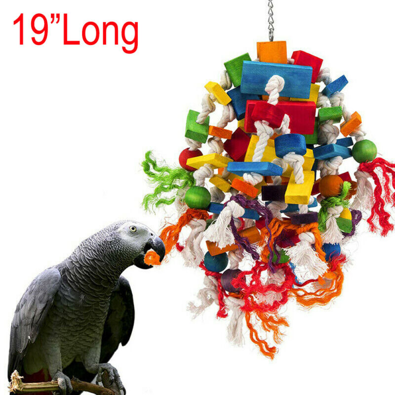Better Blocks Knots African Grey Cockatoo Macaw Large Medium Parrot Bird Chewing Toy Fowl Play