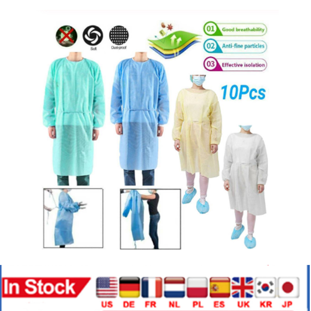 Disposable medical Gown Non-woven Protective Isolation Clothing For Home Outdoor Anti-fog Anti-particle Suit 10pcs/set