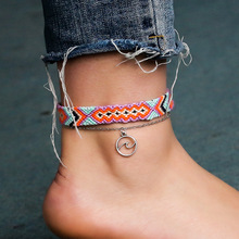 Summer Ladies Anklet Rope Chain Woven Multi-layer Colorful Charm Beach Bohemian Womens Sandals Jewelry
