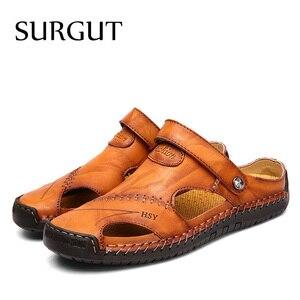Image 3 - SURGUT Summer Sandals Men Leather Classic Roman Sandals 2021 Slipper Outdoor Sneaker Beach Rubber Flip Flops Men Water Trekking