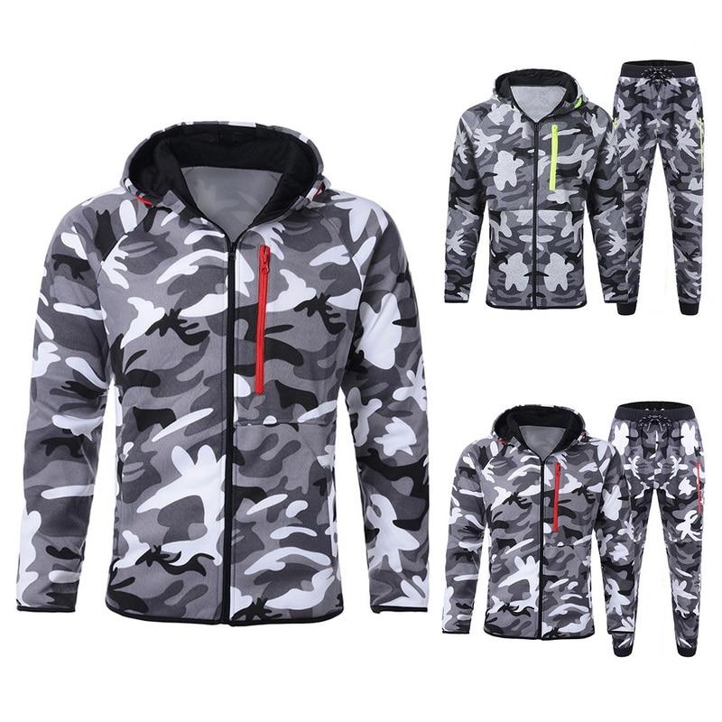 MJARTORIA Camouflage Set Men Camo Printed Sportwear Male Tracksuit 2 Piece Set Top Trousers Suits Long Sleeve Zipper Hoodie Coat