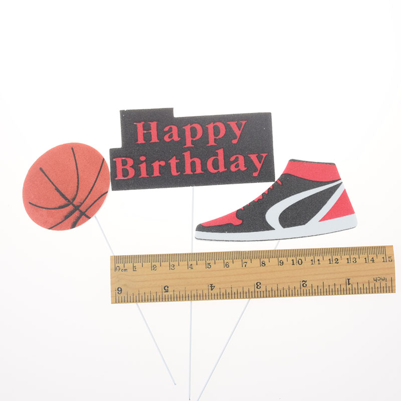 3pcs/set Cake Topper Basketball Sports Shoes DIY Cake Cupcake Toppers Boys Men Happy Birthday Party Wedding Dessert Decor Flags-4