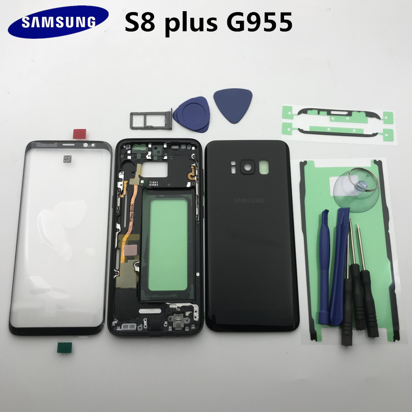 Original For Samsung Galaxy S8 Edge Plus G955 G955F Full Housing Case Back Cover+Front Screen Glass Lens + Middle Frame All Part