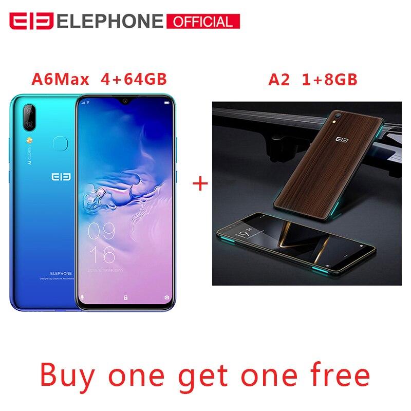 Elephone A6 MAX 6,53 ''Android 9,0 4 Гб 64 Гб MT6762V, смартфон, четыре ядра, 20MP отпечатков пальцев 5 V/2A 3400 мА/ч, 4G, OTG NFC мобильного телефона