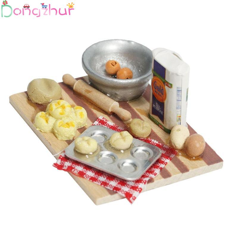 1:12 Doll House Kitchen Accessories Mini Pastry Noodle Making Table Chopping Board Flour Model Toy Dollhouse Decoration