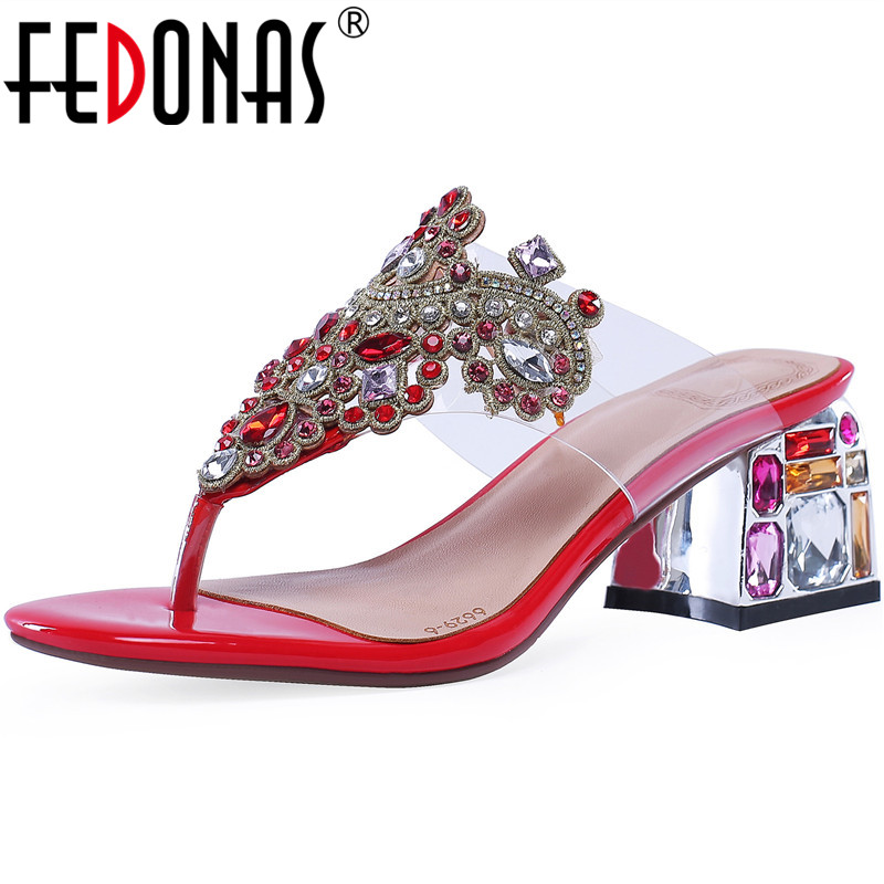FEDONAS Qualoty Summer Retro Sandals Women Square Heeled Pinch Cow Genuine Leather Rhinestone Summer Sandals 2020 Shoes Woman