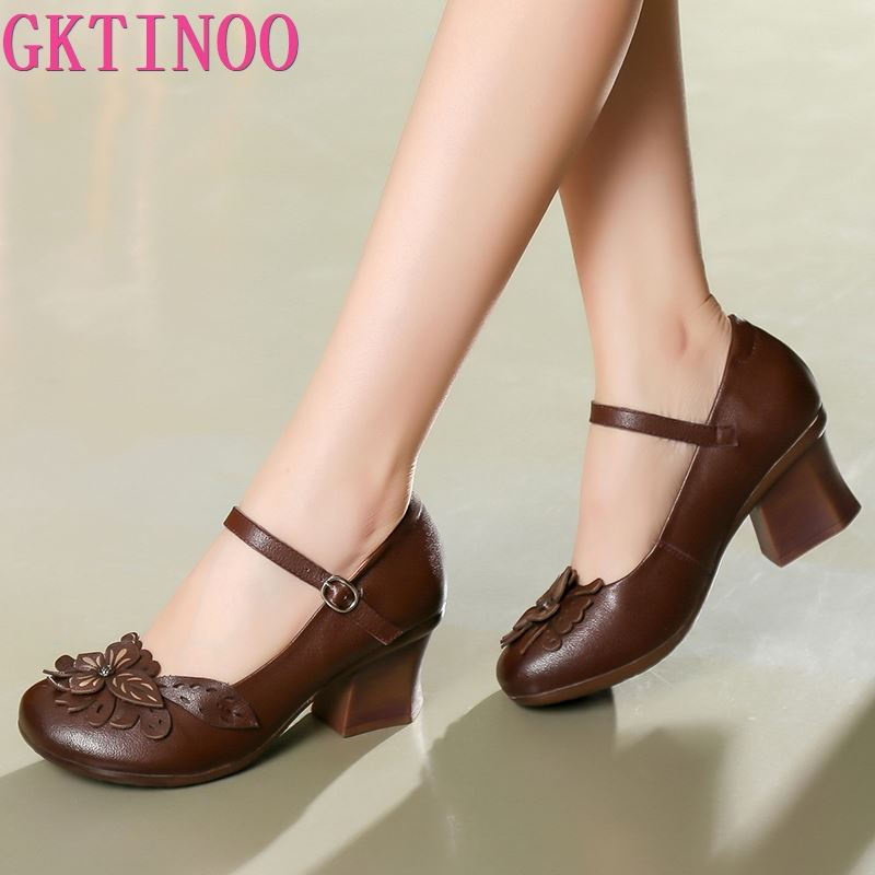 GKTINOO Spring Women Pumps Retro Lady 6CM High Heels Slip On Flower Pumps Handmade Women Genuine Leather Shoes