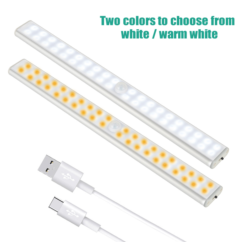 LED sous l'armoire lumière placards PIR lampe de capteur de mouvement 24 40 60 LED sans fil USB Rechargeable cuisine lumières pour garde-robe