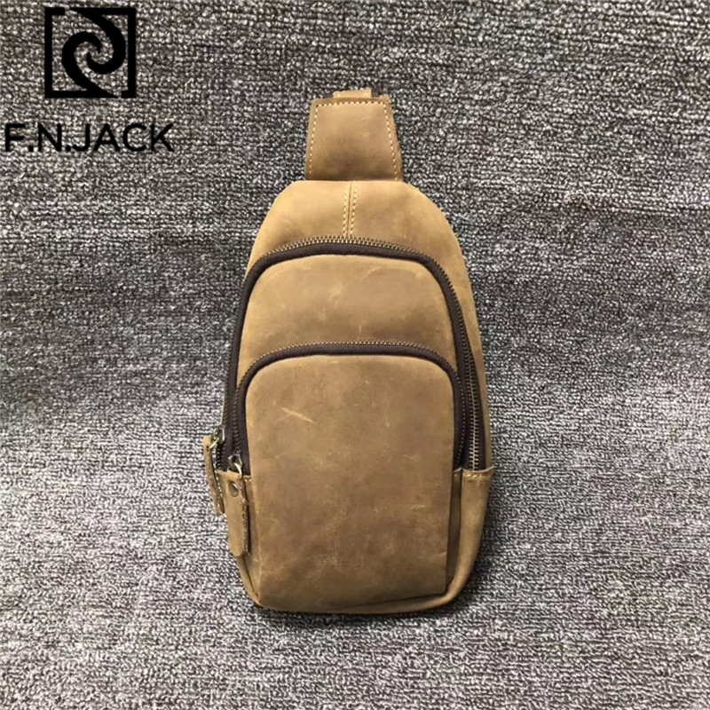 F.N.JACK New Crazy Horse Leather Mens Fanny Pack Chest Bag Retro Leisure Fashion Retro Casual Chest Bag For Men 2019