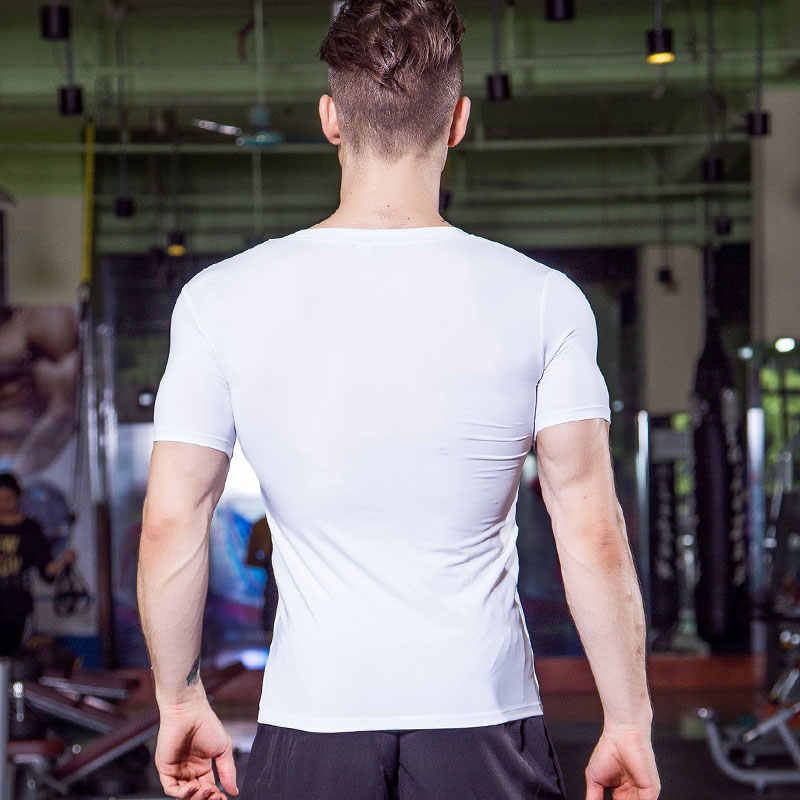 Pria Cepat Kering Kebugaran Kemeja Penjaga Ruam Pria Tenis Basket Jersey Gym Kostum Pelatihan Olahragawan Memakai Menjalankan T-shirt Pendek
