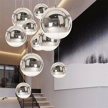 Стеклянный шар в скандинавском стиле, золотой, серебряный, светодиодный, подвесные светильники для ресторана, бара, промышленное освещение, Подвесная лампа, кухонные приборы