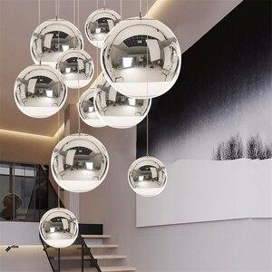 Image 1 - Lámpara nórdica con bola de cristal dorada y plateada para LOFT, luces LED colgantes para restaurante, Bar, iluminación Industrial, accesorios de cocina, Luminaria