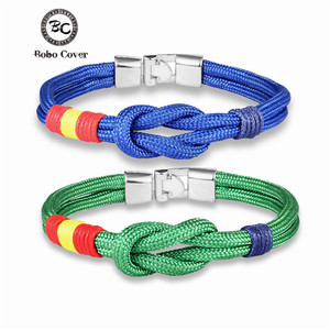 Trendy Country Spain Flag Couple Bracelet Women infinity Colorful Survival Rope Anchor Bracelets Men femme Lucky Gifts Pulseira(China)