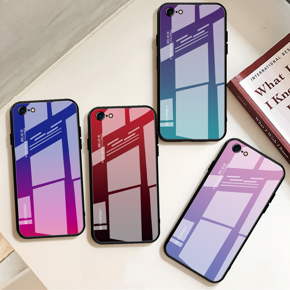 Image 5 - luxury tempered gradient stained glass phone case for iphone 11  lot pro max x xr xs 8 7 6 6s plus cover soft edge drop protectFitted  Cases