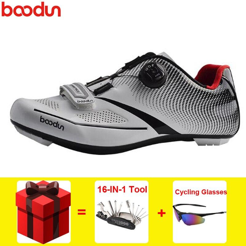Boodun Cycling Shoes Men Self-Lock Sneakers Adult Pro Road Racing Bicycle Shoes
