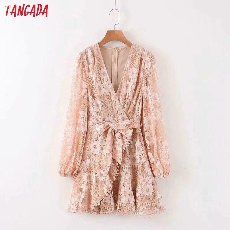 Женское мини-платье с цветочной вышивкой Tangada, винтажное короткое платье с пышными рукавами, модель JNA01