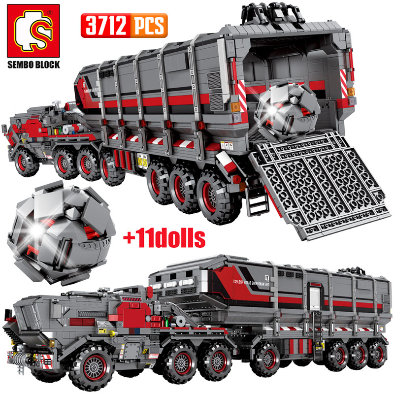 SEMBO City Wandering Earth Carrier Car Building Blocks Technic Military Tank Cargo Van Transport Truck Bricks Boys Toys