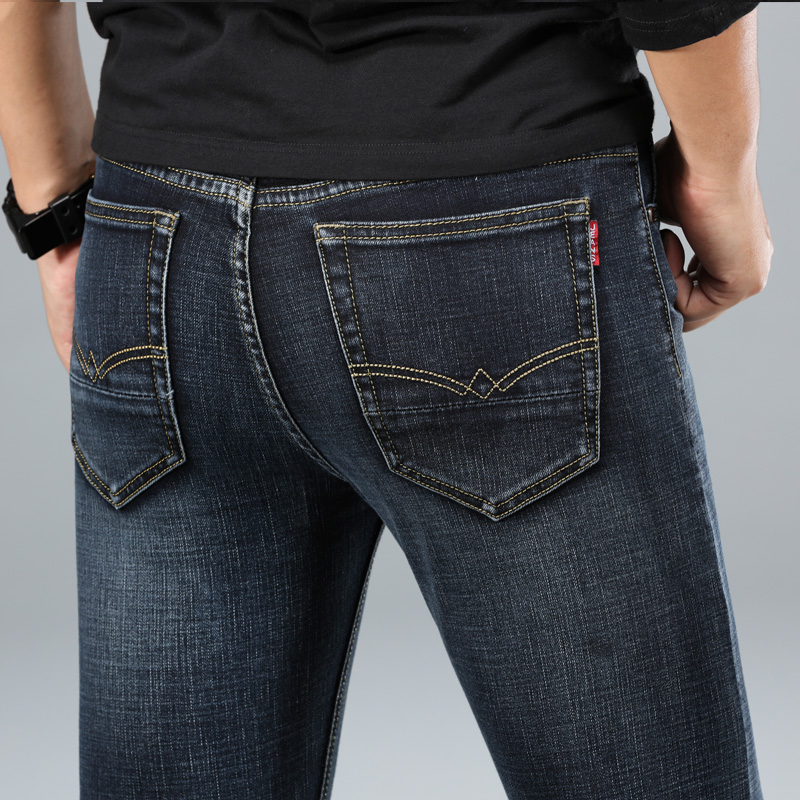 Hb703c7d01a834350b99dc7a675e388c3W - 2020 New Design Jeans Mens Pants Cotton Deniem Classic Trousers Casual Stretch Slim High Quality Black Blue Multiple Styles