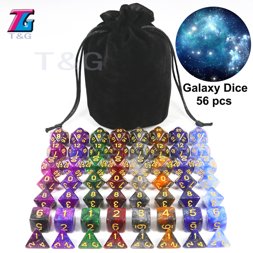 Super Universe Galaxy Dice Set Of D4-D20, DND Board Game Accessories Newest Hot Dice 56PCS With Bag