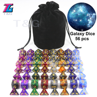 Super Universe Galaxy Dice Set of D4 D20, DND Board Game Accessories Newest Hot Dice 56PCS with Bag