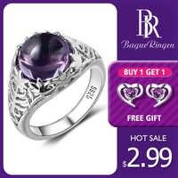 Bague Ringen Vintage 100% 925 en argent Sterling ronde naturelle améthyste mariage bagues de fiançailles pour les femmes bijoux fins taille 6-10