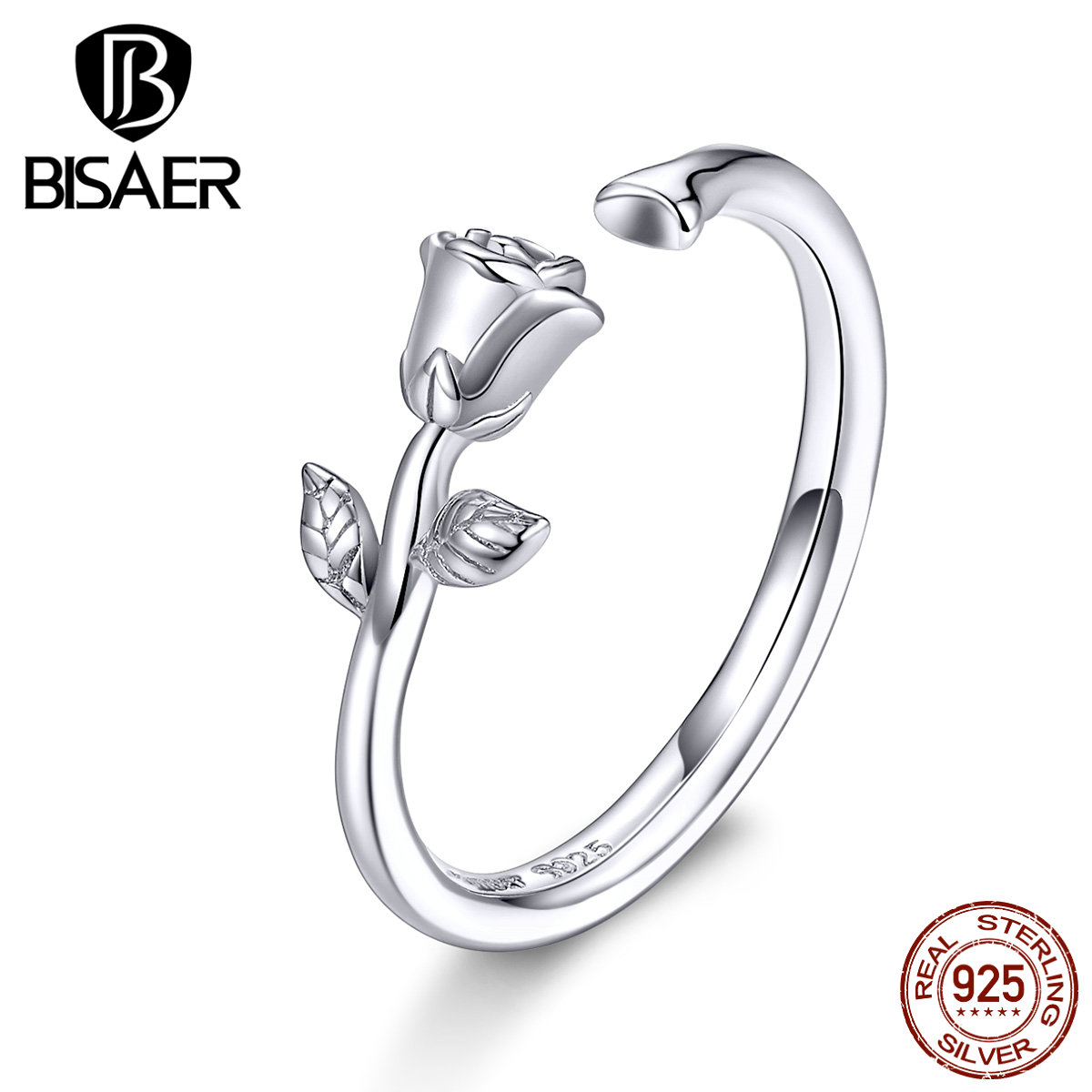 BISAER 925 sterling silver rose flowers open size rings for women finger sterling silver rings jewelry anel EFR065(China)