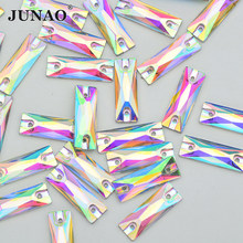 JUNAO 7x21mm Sew On Crystal AB Rectangle Rhinestone Flat Back Crystal Stones Sewing Resin Strass Diamond for Needlework Crafts(China)
