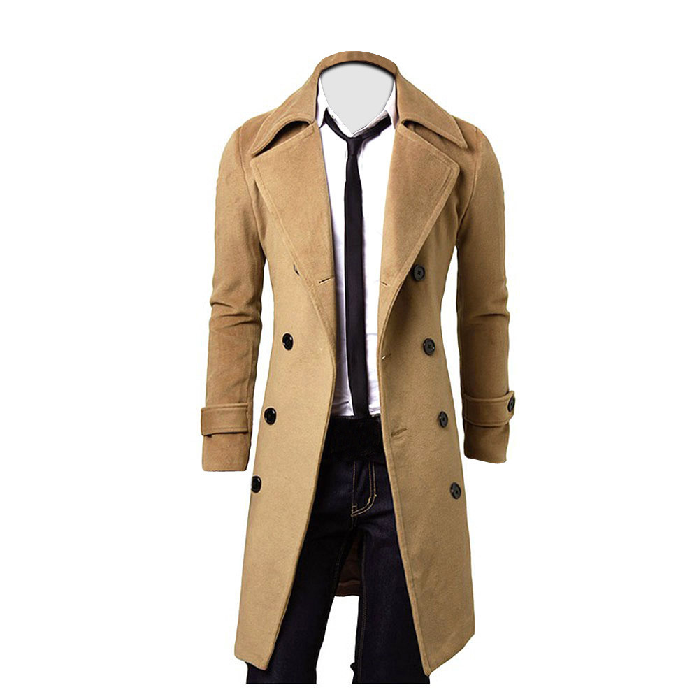 Winter Men Coat Slim Stylish Trench Double Breasted Long Jacket Parka BK/M Casual high quality Autumn Mens Tops Blouse New 2