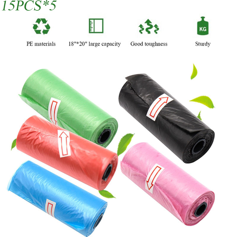 15/75 Pcs 22*28cm Rolls Portable Plastic Diaper Bags Travel Nappy Bags New Baby Diaper Nappy Disposable One-time Use Rubbish Bag