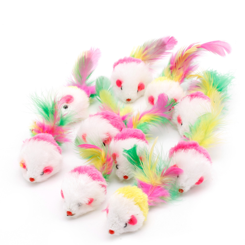 10pcs Novelty Pet Kitten Cat Furry Mouse Shaped Toy Feather Tail Fetch Toy Gift