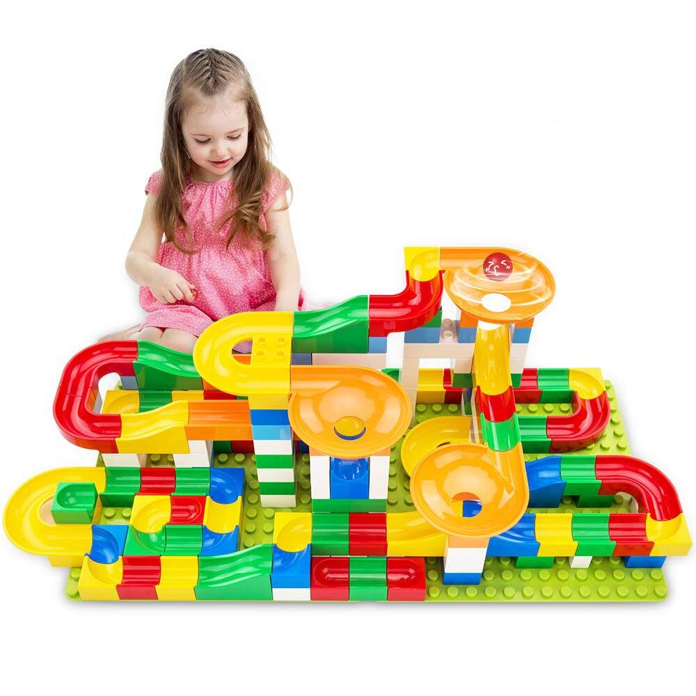 Mármore Corrida Corrida Bola Labirinto Trilha Building Blocks DIY Funil Plástico Slide Grande Tamanho Duplo Tijolos Tijolos Compatível
